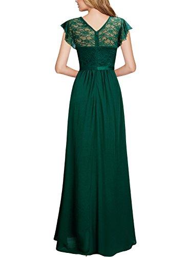 Miusol Damen Aermellos V-Ausschnitt Spitzenkleid Brautjungfer Cocktailkleid Chiffon Faltenrock Langes Kleid Grün XL - 2