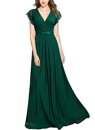 Miusol Damen Aermellos V-Ausschnitt Spitzenkleid Brautjungfer Cocktailkleid Chiffon Faltenrock Langes Kleid Grün XL - 4