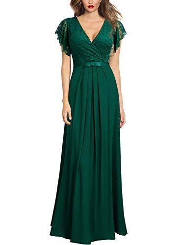 Miusol Damen Aermellos V-Ausschnitt Spitzenkleid Brautjungfer Cocktailkleid Chiffon Faltenrock Langes Kleid Grün XL - 6