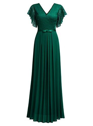 Miusol Damen Aermellos V-Ausschnitt Spitzenkleid Brautjungfer Cocktailkleid Chiffon Faltenrock Langes Kleid Grün XL - 7