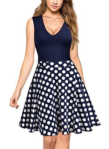 Miusol Damen Sommer Kleid V-Ausschnitt Ärmellos Blume Patterned Mini Casual Kleid Navy Blau-Polka Dots Gr.XXL