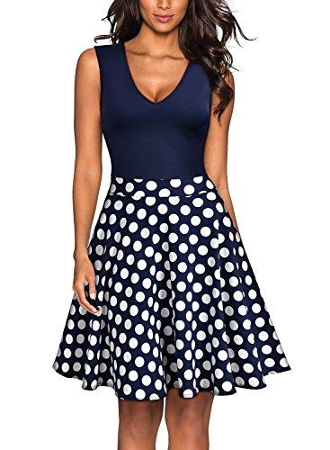 Miusol Damen Sommer Kleid V-Ausschnitt Ärmellos Blume Patterned Mini Casual Kleid Navy Blau-Polka Dots Gr.XXL - 4