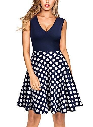 Miusol Damen Sommer Kleid V-Ausschnitt Ärmellos Blume Patterned Mini Casual Kleid Navy Blau-Polka Dots Gr.XXL - 5