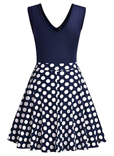 Miusol Damen Sommer Kleid V-Ausschnitt Ärmellos Blume Patterned Mini Casual Kleid Navy Blau-Polka Dots Gr.XXL - 7