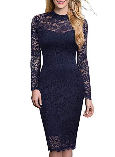 Miusol Spitzen Kleid, Damen Elegant Knielanges Langarm Abendkleid Navy Blau S