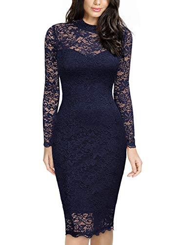 Miusol Spitzen Kleid, Damen Elegant Knielanges Langarm Abendkleid Navy Blau S - 4