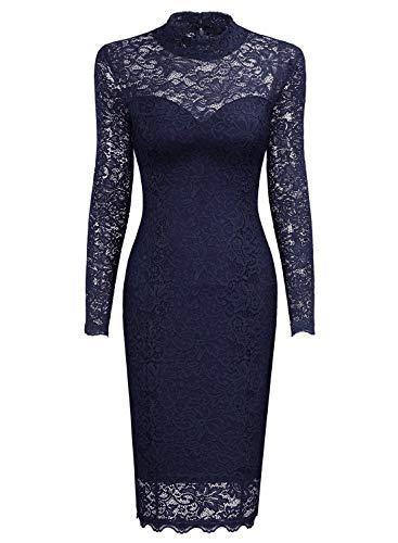 Miusol Spitzen Kleid, Damen Elegant Knielanges Langarm Abendkleid Navy Blau S - 5