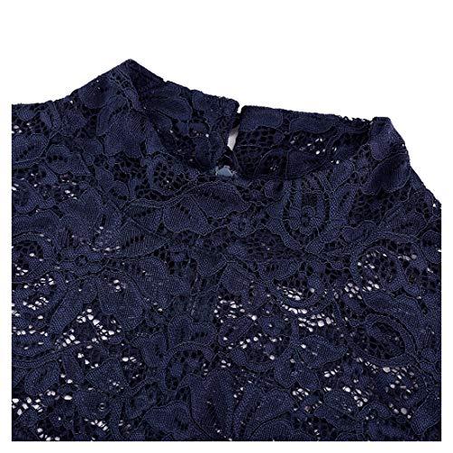 Miusol Spitzen Kleid, Damen Elegant Knielanges Langarm Abendkleid Navy Blau S - 6