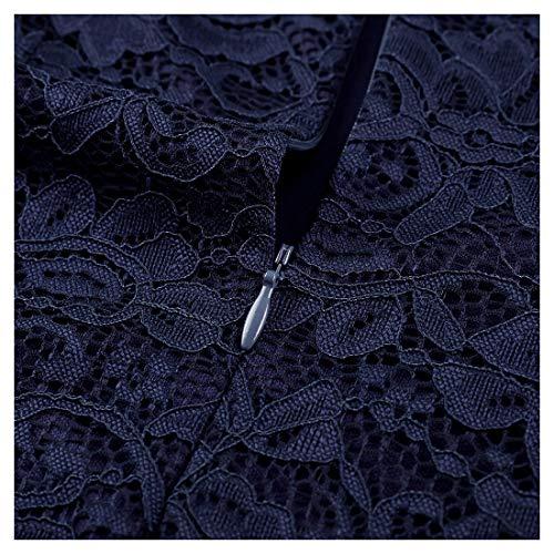 Miusol Spitzen Kleid, Damen Elegant Knielanges Langarm Abendkleid Navy Blau S - 7