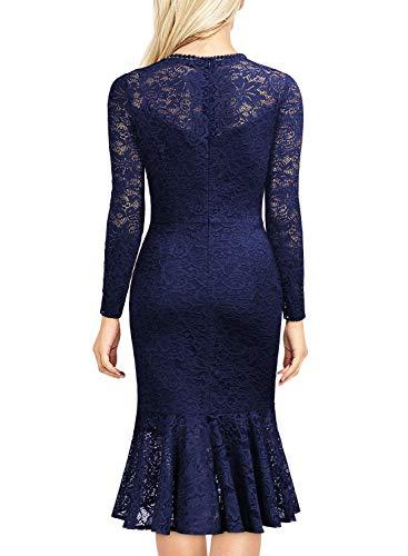 Miusol Damen Elegant Spitzen Cocktailkleid Party Kleid Rundhals Knielanges Lange Ärmel Asymmetric Abendkleider Navy Blau L - 2