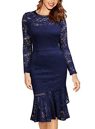 Miusol Damen Elegant Spitzen Cocktailkleid Party Kleid Rundhals Knielanges Lange Ärmel Asymmetric Abendkleider Navy Blau L - 4