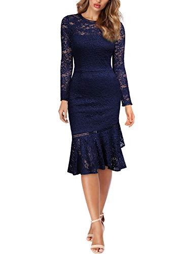 Miusol Damen Elegant Spitzen Cocktailkleid Party Kleid Rundhals Knielanges Lange Ärmel Asymmetric Abendkleider Navy Blau L - 5