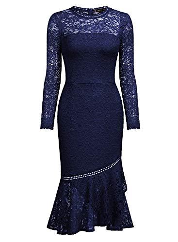 Miusol Damen Elegant Spitzen Cocktailkleid Party Kleid Rundhals Knielanges Lange Ärmel Asymmetric Abendkleider Navy Blau L - 6