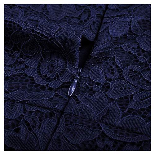 Miusol Damen Elegant Spitzen Cocktailkleid Party Kleid Rundhals Knielanges Lange Ärmel Asymmetric Abendkleider Navy Blau L - 7