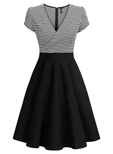 Miusol Damen V-Ausschnitt mit Hahnentritt Muster Blumen Ärmel Knielang Swing Partykleid A-Line Rockabilly Kleid Schwarz 2XL - 5