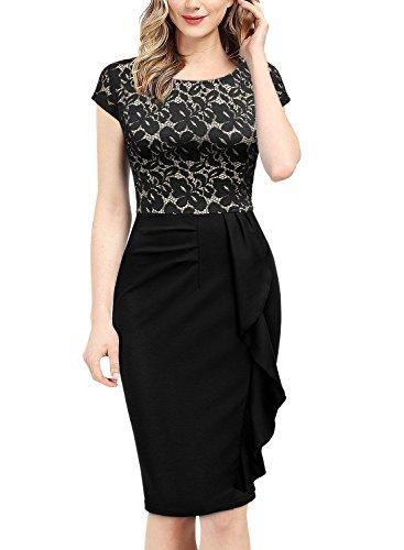 Miusol Damen Spitzenkleid Etuikleid mit Falte Cocktail Pencil Kleid Schwarz Gr.XL - 5