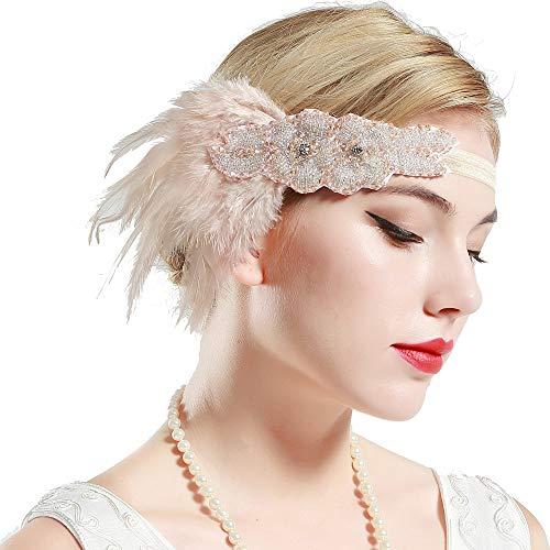 BABEYOND Frauen Kristall Haarband Perlen Stirnband Federn Flapper Stirnband Vintage Stirnband 1920