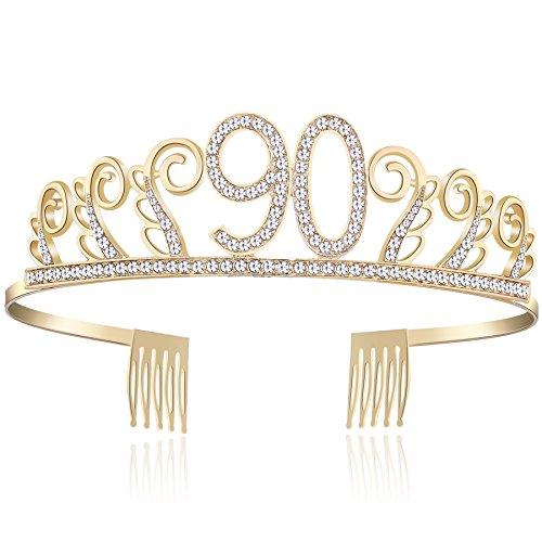 BABEYOND Kristall Geburtstag Tiara Birthday Crown Prinzessin Geburtstag Krone Haar-Zusätze Rosa oder Silber Diamante Glücklicher 18/20/21/30/40/50/60/90 Geburtstag (90 Jahre alt Gold)