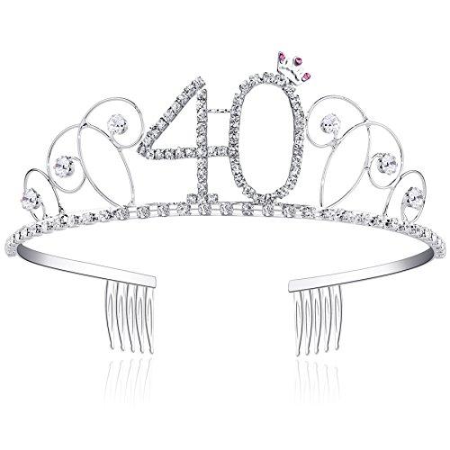 BABEYOND Kristall Geburtstag Tiara Birthday Crown Prinzessin Kronen Haar-Zusätze Silber Diamante Glücklicher 18/20/21/30/40/50/60 Geburtstag (40 Jahre alt)