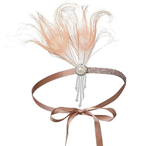 BABEYOND 1920s Stirnband Feder Flapper Stirnband mit Perlen Troddel 20er Jahre Haarband Große Gatsby Kostüm Accessoires Damen Retro Stirnband (Aprikose Rosa)