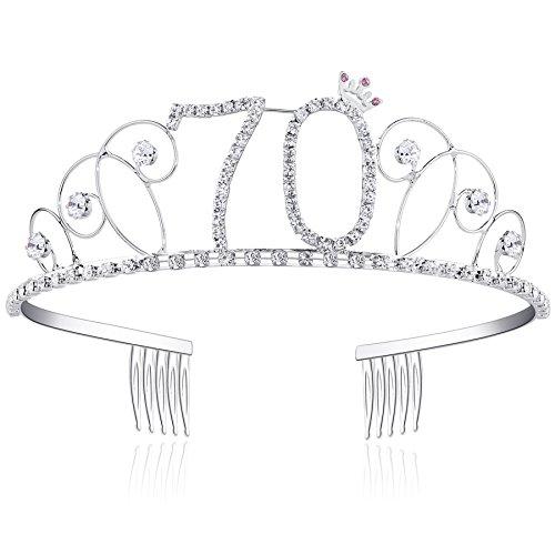 BABEYOND Kristall Geburtstag Tiara Birthday Crown Prinzessin Kronen Haar-Zusätze Silber Diamante Glücklicher 16/18/20/21/30/40/50/60/70/80/90 Geburtstag (70 Jahre alt)