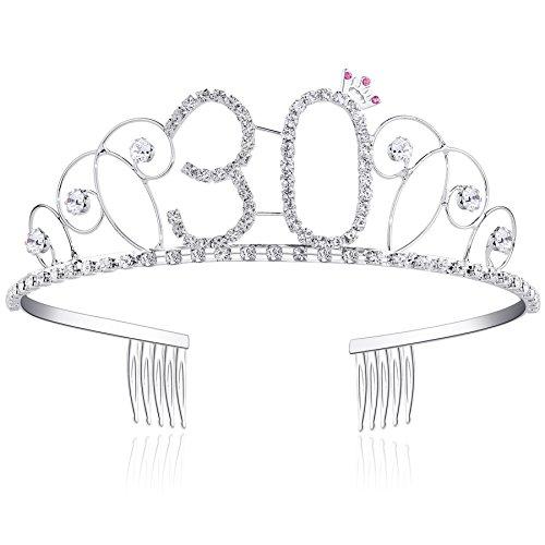 BABEYOND Kristall Geburtstag Tiara Birthday Crown Prinzessin Kronen Haar-Zusätze Silber Diamante Glücklicher 18/20/21/30/40/50/60 Geburtstag (30 Jahre alt)