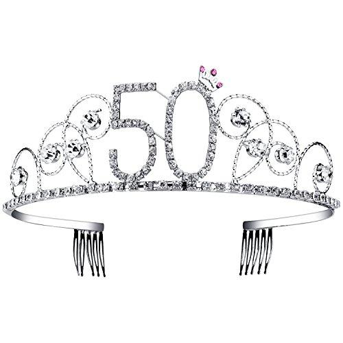 BABEYOND Kristall Geburtstag Tiara Birthday Crown Prinzessin Kronen Haar-Zusätze Silber Diamante Glücklicher 18/20/21/30/40/50/60 Geburtstag (50 Jahre alt)