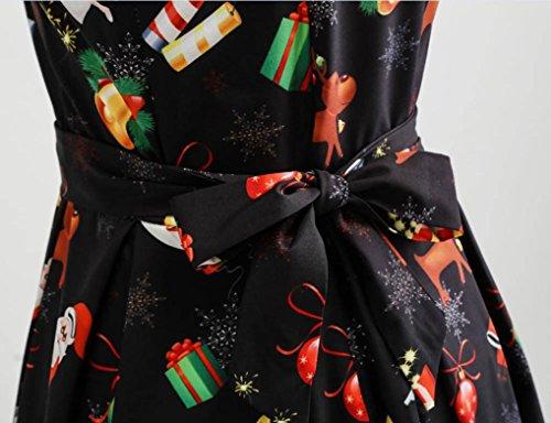 Weihnachtskleid //  Kleid Ärmellos Rundhals Partykleid - 4