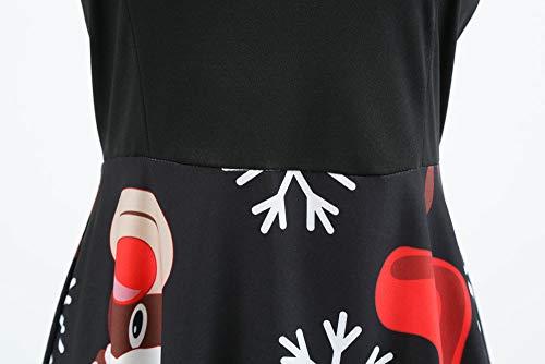 Weihnachten Kleider Damen UFODB Frauen Weihnachtskleid Kleid Swing Taille Slim Cocktailkleid Retro Schwingen Party Partykleid Festlich Christmas Dress - 7