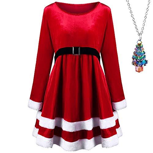Weihnachtskleid Elegant // Plüschkante Rundhals