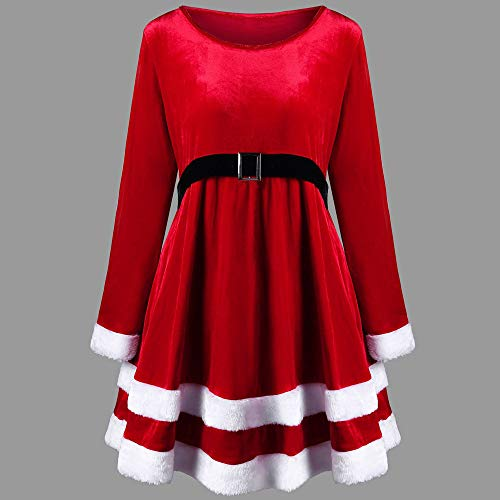 Weihnachtskleid Elegant // Plüschkante Rundhals - 5