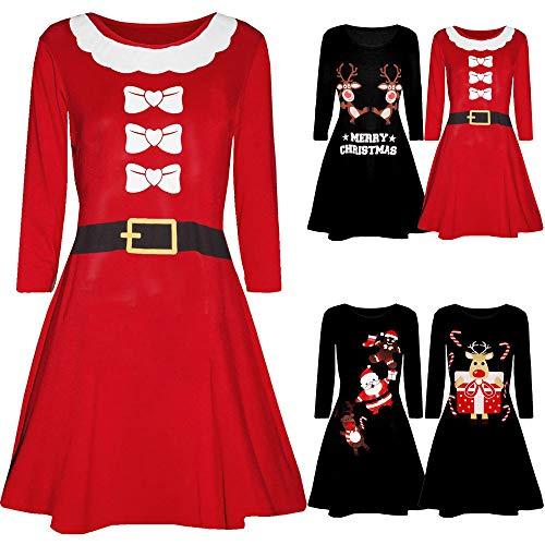 IZHH Damen Weihnachtskleider, Printed Langarm Weihnachtsmann drucken O-Neck Slim Fitted Abend Prom Kostüm Swing Kleid Party Club Festival Kleid(R-Schwarz3,Medium) - 5