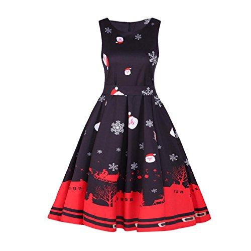 Moonuy Damen Weihnachtskleid, Frauen Mädchen Weihnachten Starts Print Langarm Kleid Damen Abendgesellschaft Knielangen Kleid Hirsch Weihnachtsbaum dekorative (Schwarz 4, XL) - 2