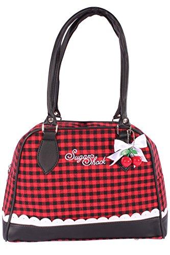 SugarShock GINGHAM Rüschen rockabilly Bowling Karo Cherry Schleifchen Handtasche