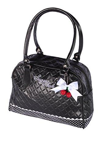 SugarShock Damen Budapester Weekender Cherry Bow rockabilly Bowling Handtasche Tasche, Schwarz,