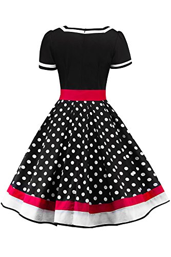 Retro 50er Rockabilly Kleid Petticoat Kleider Retro Kleid Petticoat Faltenrock Kleider Schwaru - 3