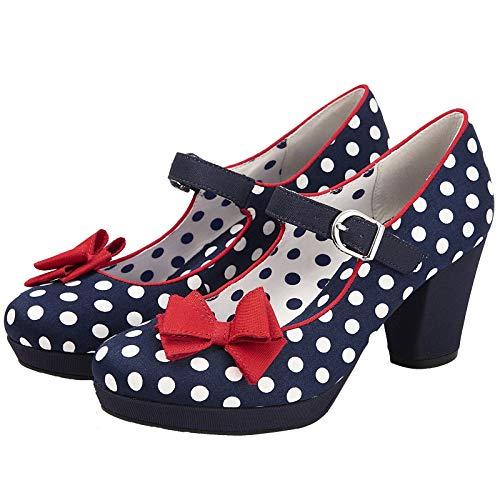 Ruby Shoo Damen Schuhe Polka Dot Retro Pumps Blau - 3