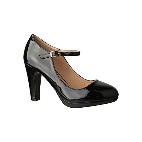 Damen Pumps | Bequeme High Heels Lack-Optik | Vintage-Style | Abendschuh