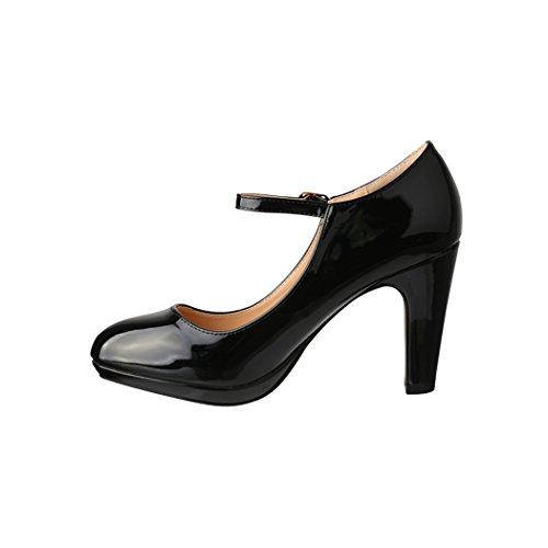 Damen Pumps   Bequeme High Heels Lack-Optik   Vintage-Style   Abendschuh - 2