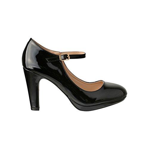 Damen Pumps   Bequeme High Heels Lack-Optik   Vintage-Style   Abendschuh - 3