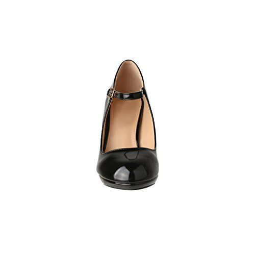 Damen Pumps   Bequeme High Heels Lack-Optik   Vintage-Style   Abendschuh - 4