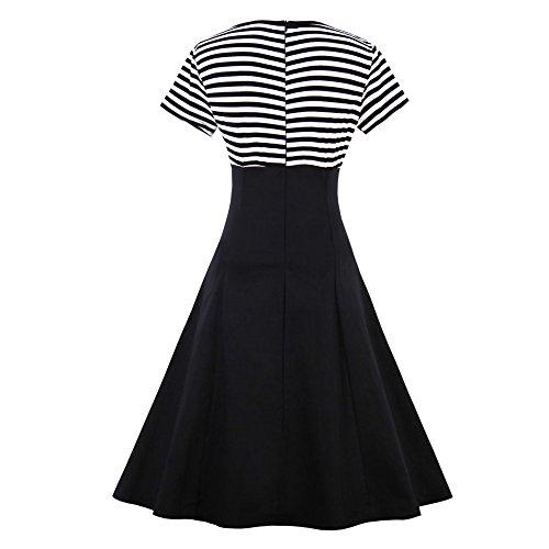 ZAFUL Damen Gestreiftes Kleid Festliche Hepburn Kleider mit Knöpfe-Dekoration Kurzarm Cocktailkleid Schwarz XXXX-Large - 2