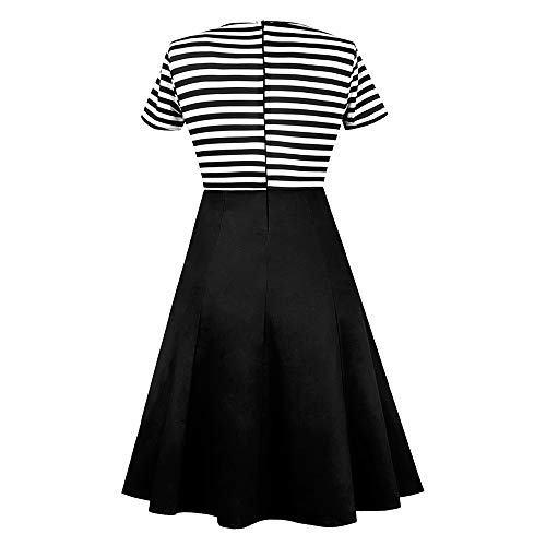 ZAFUL Damen Gestreiftes Kleid Festliche Hepburn Kleider mit Knöpfe-Dekoration Kurzarm Cocktailkleid Schwarz XXXX-Large - 4