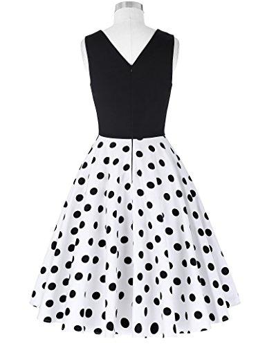 Damen elegant polka dots kleid damenkleider festlich elegant a linie kleid partykleider cocktailkleider L CL0463-2 - 2