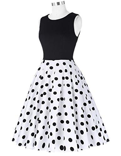 Damen elegant polka dots kleid damenkleider festlich elegant a linie kleid partykleider cocktailkleider L CL0463-2 - 4