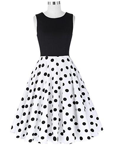 Damen elegant polka dots kleid damenkleider festlich elegant a linie kleid partykleider cocktailkleider L CL0463-2 - 5