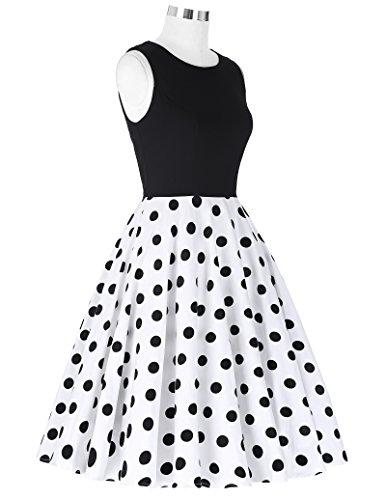 Damen elegant polka dots kleid damenkleider festlich elegant a linie kleid partykleider cocktailkleider L CL0463-2 - 6