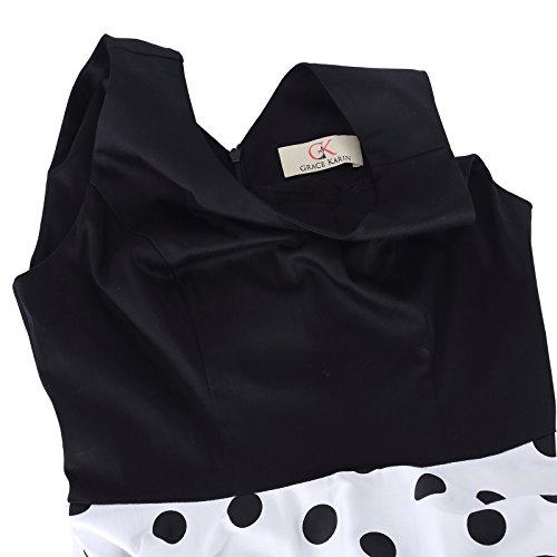 Damen elegant polka dots kleid damenkleider festlich elegant a linie kleid partykleider cocktailkleider L CL0463-2 - 7