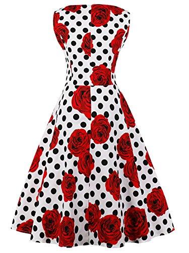 FAIRY COUPLE 50er V-Ausschnitt Rockabilly Polka Blumen Jahrgang Kleid Cocktail DRT072(S,Weiße rote Blumen-Punkte) - 2