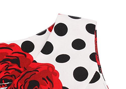 FAIRY COUPLE 50er V-Ausschnitt Rockabilly Polka Blumen Jahrgang Kleid Cocktail DRT072(S,Weiße rote Blumen-Punkte) - 6